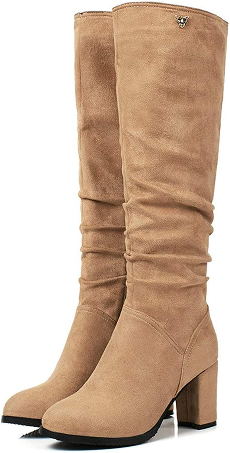 An mängXinLing Slouchy Knee High High High Boot kvinnor Soft mocka läder Block hög klack På gående Boot Side Zipper Winter Pump skor  upp till 42% rabatt