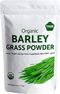 USDA Organic Barley Grass Powder 4 oz (113 Grams), Raw, Vegan, Green Super Food, Rich in Plant Protein, Fibers and Mineral...