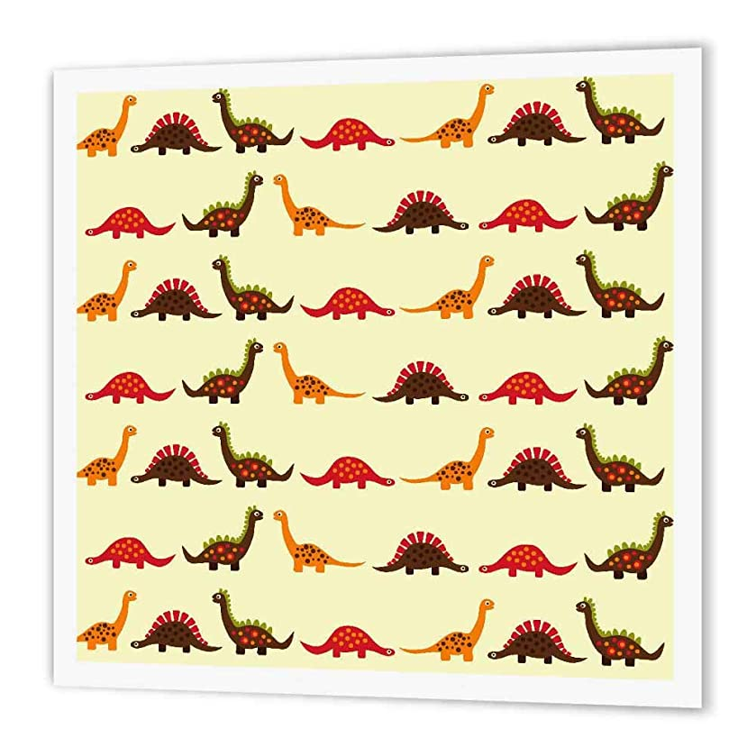 3dRose ht_116465_2 Cute Dinosaur Parade Pattern for Boys & Dino Lovers Iron on Heat Transfer Paper for White Material, 6 by 6