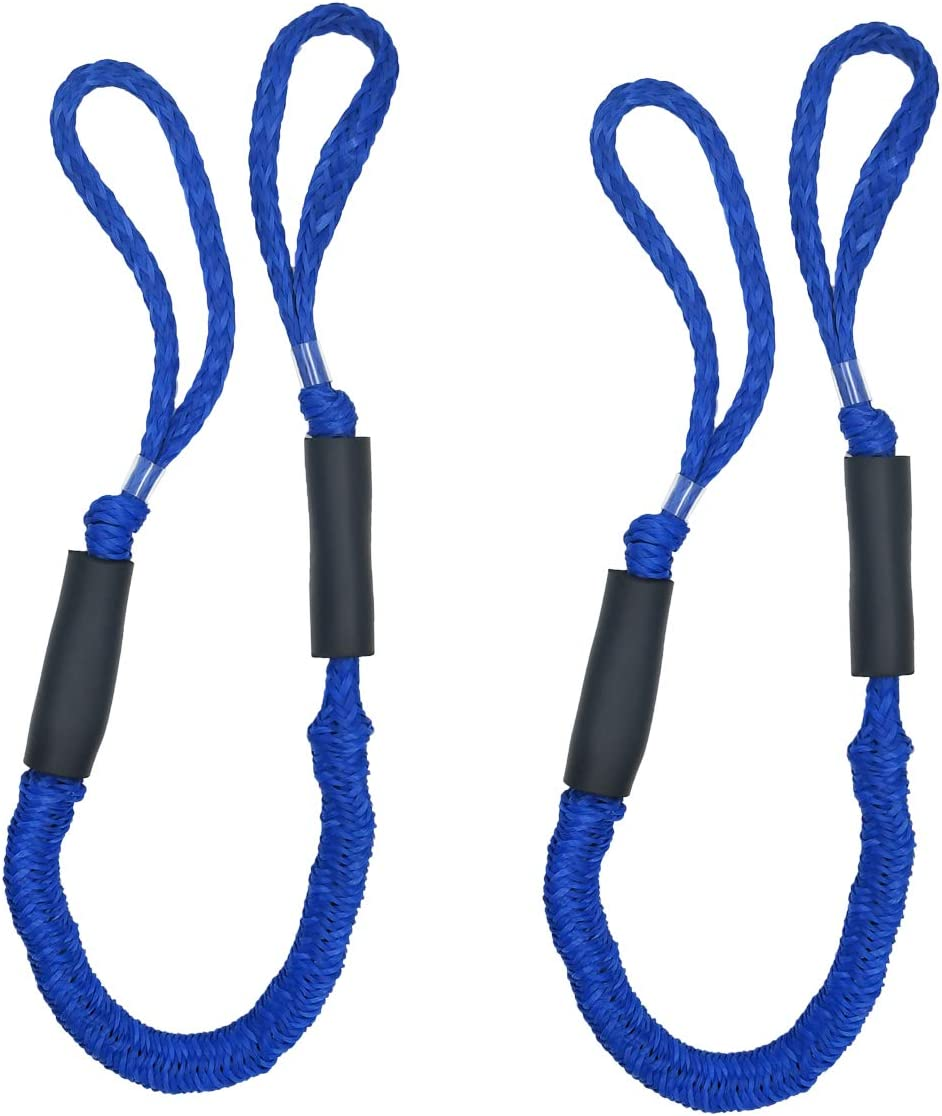 2 Pack Marine Bungee Dock Line Boat Mooring Rope Anchor Cord Stretch Line
