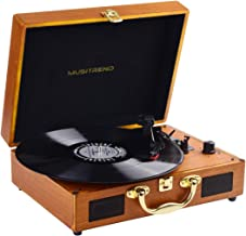 Record Player,Pareiko Turntable 3 Speed Vinyl Record Player with Stereo Speaker MP3 Recording Suitcase Design