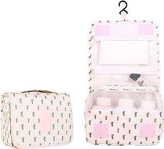 New Hanging Toiletry Bag Bathroom Organizer Travel Nylon Portable Cosmetic Bag for Women and Men (Cactus)