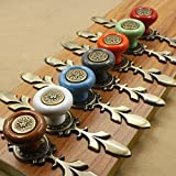 7pcs Decorative Ceramic Cabinet Knobs Multicolor Drawer Knobs Dresser Knobs Cabinet Handles Door Knobs Drawer Pulls Door Handles Cabinet Pulls with Backplate and Screw