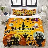 Juego de funda de edredón de fácil cuidado y 2 fundas de almohada, diseño festivo de calabazas de mago y monstruo de bruja de castillos de color amarillo anaranjado para fiesta de Halloween, elegante