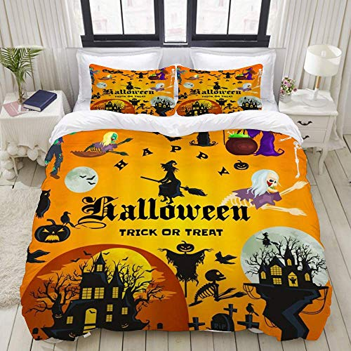 Duvet Cover,Halloween Party Orange-Yellow Castles Wizard and Witch Monster Pumpkins Festive Design,Bedding Set Ultra Comfy Lightweight Luxury Microfiber Sets (3pcs)