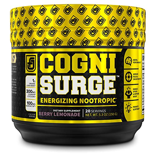 COGNISURGE Nootropic Brain Booster Supplement - Boost Energy & Focus, Concentration, Memory & Mental Clarity - w/ Lions Mane Mushrooms, Cognizin Choline, KSM-66 Ashwagandha, & Neurofactor - 20sv