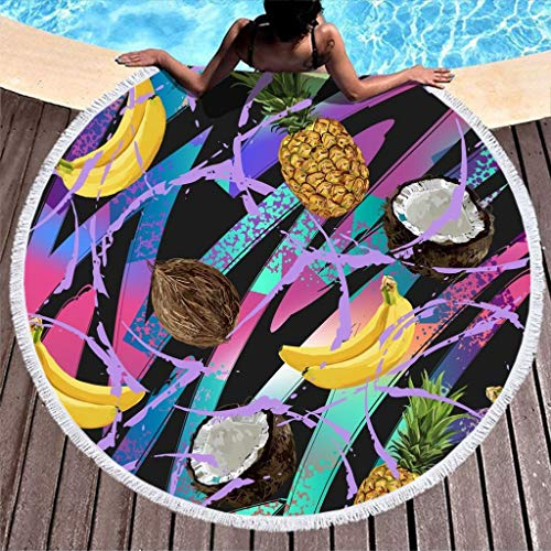 yjduop Oversized Thick Beach-Towels Wall Tapestry Fruit Beach Towel Blanket Yoga Mat with Tassels Ultra Soft Multi-Purpose Beach Throw for Beach & Pool Picnic White 59 inch