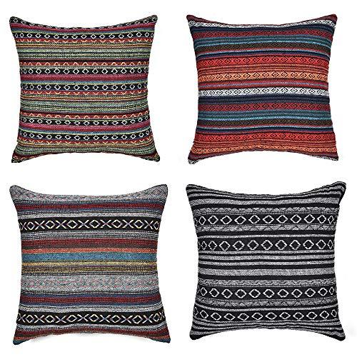 IWILCS, 4 federe per cuscino, in cotone e lino, stile retrò, per la casa, il divano, la camera da letto, 45 x 45 cm