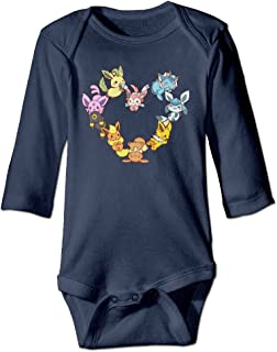 Kamici Baby Inflant Eevee Family Heart Long Sleeve Climb Clothes Navy