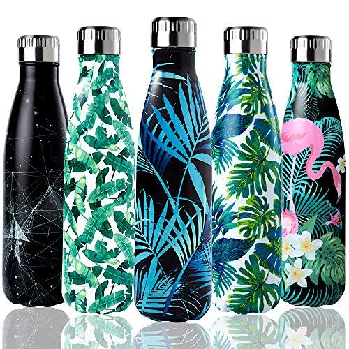 Shinemefly Botella Agua Acero Inoxidable 500ml, Botella Termica Para Niños & Adultos, 12 Horas de Bebida Caliente y 24 Horas de Bebida Fría -Hoja De Palma-Negro