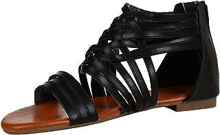 Damen STRASS Römer Gladiator Sandaletten Sandalen mit Fersenzipp
