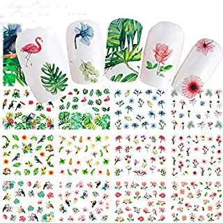 Nail Art Stickers Water Transfer Nail Decals, Flower Leaf Flamingo Bird Series Design Manicure Tips, 12 Sheets Nail Tips C...