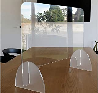 4 Pack - Clear Acrylic Desk or Countertop Sneeze Guard Protection Divider - with Opening - Easy Assembly (23.6 x 31.5 x 7)
