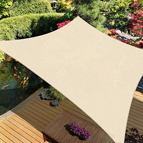 "iCOVER Sun Shade Sail 6'6"" x 9'10"" Rectangle Canopy, 185GSM Fabric Permeable Pergolas Top Cover, for Outdoor Patio Lawn Garden Backyard Awning, Beige"