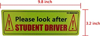 D.A.Klosterman Student Driver Safety Sign Car Bumper Sticker - Reflective Car Sign Sticker (Set of 2)