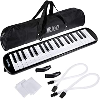 Anpro 37 Key Melodica,Harmonica Instrument Air Piano Keyboard with 2 Mouthpieces Musical Instrument with Carrying Bag for Teaching and Playing Christmas Gift for Kids(37 Key)