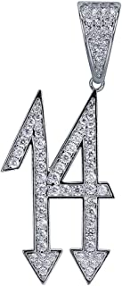 Micropave Simulated Diamond Iced Out Trippie Redd 14 Pendant Necklace 24'' Stainless Steel Rope Chain