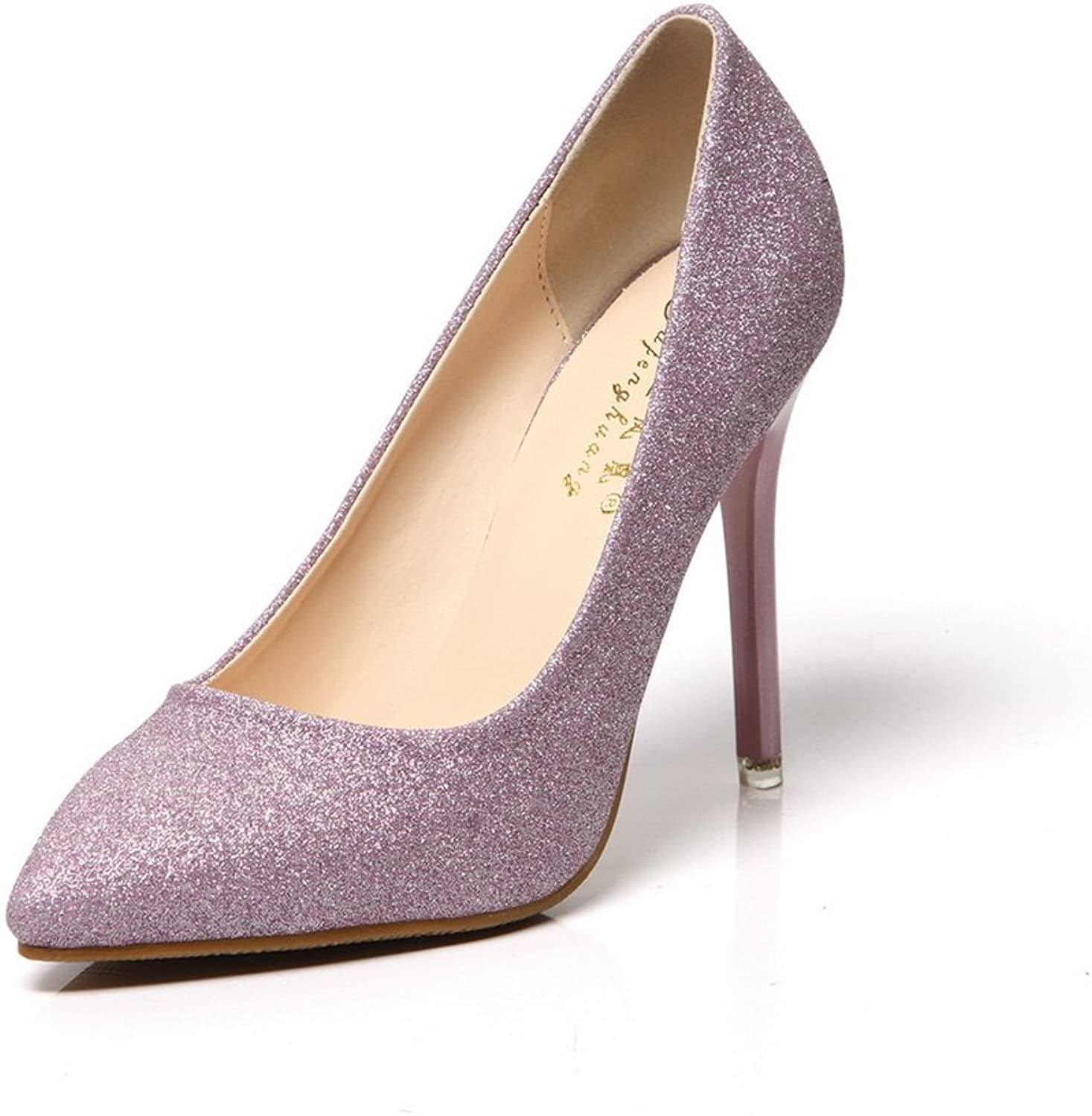 1TO9 Womens No-Closure Spikes Stilettos Pointed-Toe Purple Sequin Pumps shoes - 7 B(M) US