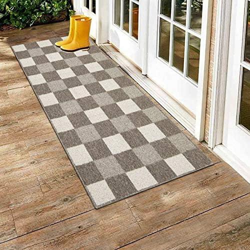 HEBE Indoor Outdoor Door Mat Runner Non Skid Machine Washable 20 x 59 Checkered Farmhouse Runner product image
