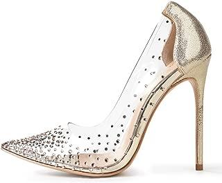 Miluoro Women Pointed Toe Transparent Rhinestones High Heels Party Wedding Pumps