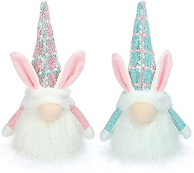 Gehydy Easter Gnome Handmade Swedish Tomte 2021 New Spring Easter Bunny Lights Swedish Tomte Gnome Plush Holiday Home Decoration Ornament Rabbit Gifts 11 Inch