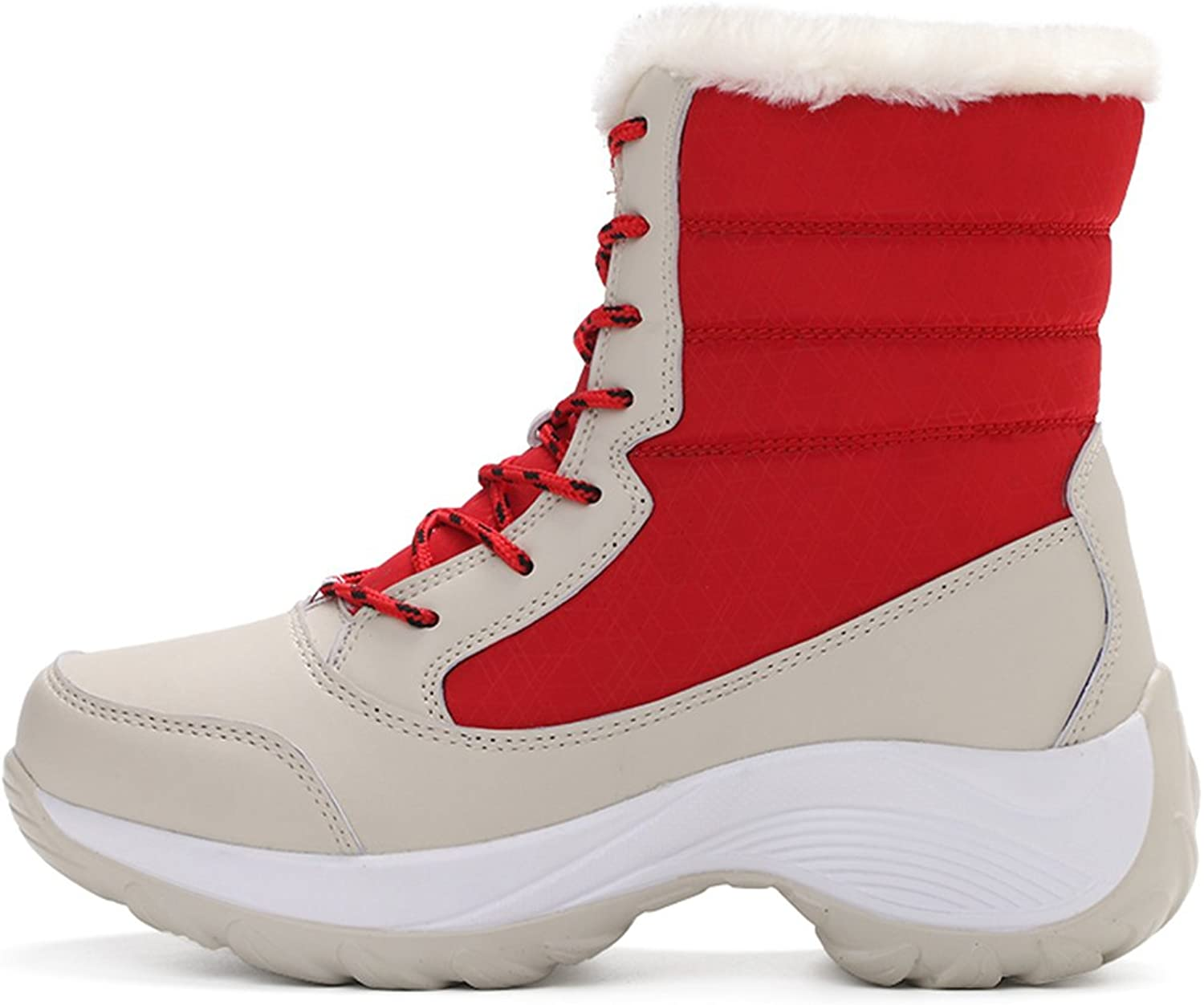 XIAFEN Women's Fashion Combat Lace Up Ankle High Casual Warm Snow Boots
