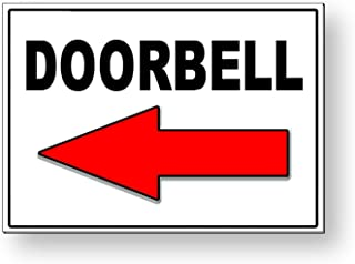 Eletina Staring Doorbell Arrow Left Metal Sign with Double Sided Mounting Tape