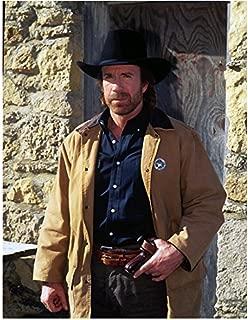 Walker, Texas Ranger 8 x 10 Photo Chuck Norris Black Cowboy Hat & Tan Jacket w/Badge kn