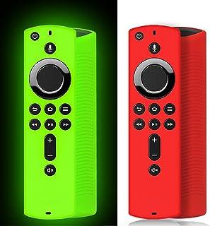 [2 Pack ] Firestick Remote Cover Case (Green Glow), Silicone Fire Remote Cover Case Compatible with 4K Firestick TV Stick,...