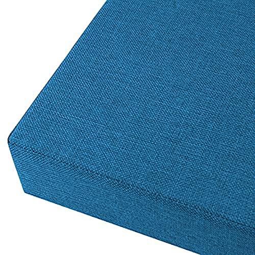 KicKiq Cojín largo para sofá de 2/4 cm de grosor, relleno de banco de comedor, cojín de asiento de jardín con parte inferior antideslizante para patio balcón ventana (azul, 150 x 30 x 2 cm)