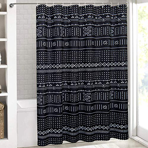 Yokii Black Boho Fabric Shower Curtain Mudcloth Patterned Tribal Hippie Simple Geometric Minimalist Bathroom Shower Curtain Sets Mud Cloth Decor, Heavy Weighted & Waterproof (Black , 72 x 72)