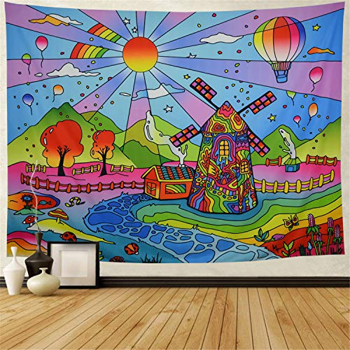 Galoker Trippy Tapestry Fairy Tale Tapestry Fantasy Cartoon World Tapestry Psychedelic Sun Tapestry Abstract Windmill Tapestry Wall Hanging for Kids Cartoon Themed Room Decor(H51.2×W59.1 inches)