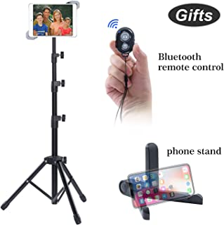 AkTop iPad Tripod Stand Holder, Indoor Outdoor Foldable Bluetooth Control Floor Mount Tablet Stand, 360 Rotating Height Adjustable for More 7 to 12 Inch Tablets, Carrying Case & Phone Holder as Gifts