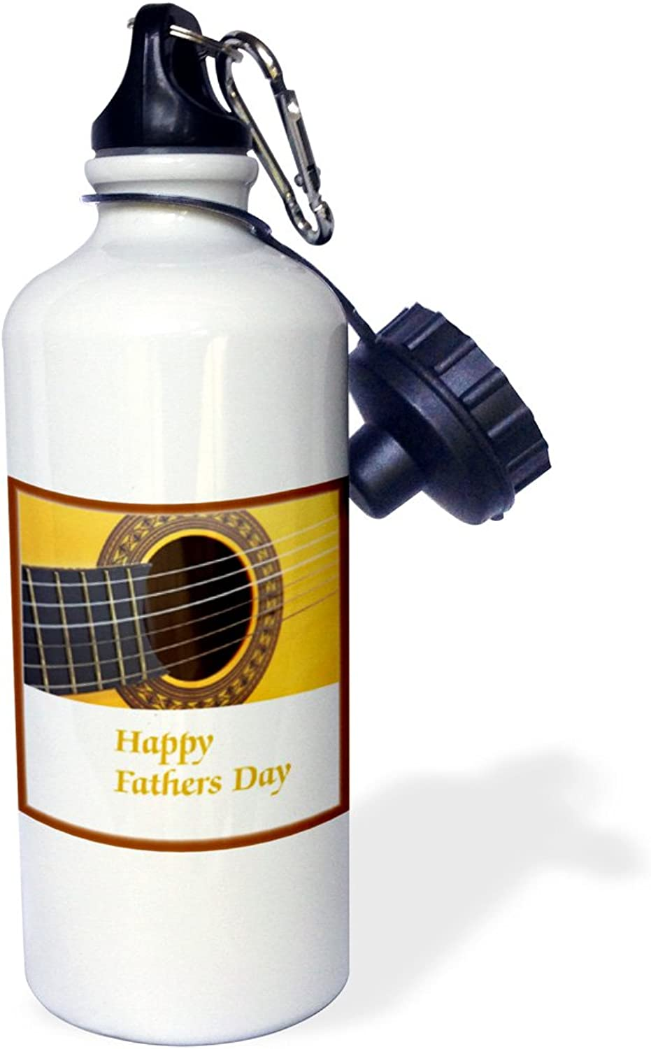 3dpink wb_204987_1  Print of Happy Fathers Day With Guitar Close Up  Sports Water Bottle, 21 oz, White