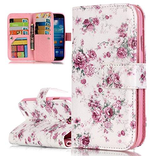 ISAKEN Kompatibel mit Galaxy S4 Hülle, PU Leder Brieftasche Ledertasche Handyhülle Tasche Case Schutzhülle Hülle Etui mit Standfunktion Karte Halter für Samsung Galaxy S4 - Rose Blumen