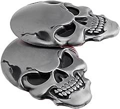 1 Pair 3D Chrome Silver Skull Head Decal Emblem Sticker Badge 3M Tape For Honda Lexus Mazda Nissan Subaru Toyota Car