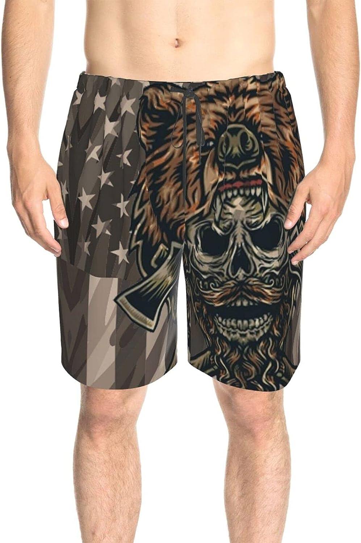 JINJUELS Mens Swim Trunks Bear Skull Flag Bathing Suit Boardshorts Fast Dry Fashion Beach Swim Trunk with Lining