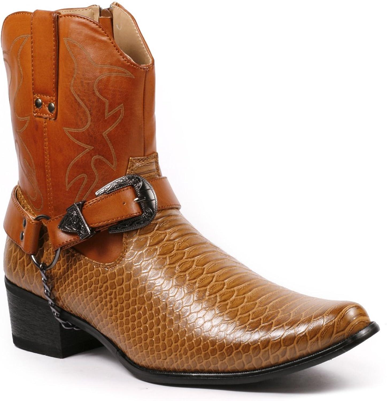 Metrocharm Diego-01 Men's Belt Buckle Chain Strap Western Cowboy Boots