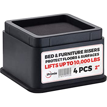 """iPrimio Bed and Furniture Risers – Square Elevator up to 2"""" Per Riser and Lifts up to 10,000 LBs - Protect Floors and Surfaces – Durable ABS Plastic and Anti Slip Foam Grip – Stackable (4, Black)"""