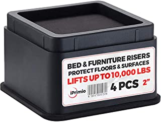 "iPrimio Bed and Furniture Risers – Square Elevator up to 2"" Per Riser and Lifts up to 10,000 LBs - Protect Floors and Surfaces – Durable ABS Plastic and Anti Slip Foam Grip – Stackable (4, Black)"