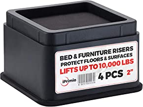 """iPrimio Bed and Furniture Risers – 4 Pack Square Elevator up to 2"""" Per Riser and Lifts up to 10,000 LBs - Protect Floors and Surfaces – Durable ABS Plastic and Anti Slip Foam Grip – Stackable – Black"""