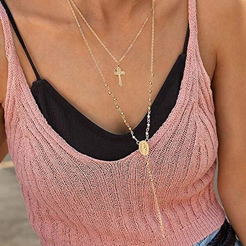 Jovono meerlagige kruis en engelen Hanger Kettingen Mode Choker Ketting Ketting Sieraden voor Vrouwen en Meisjes