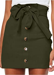 Women's Paperbag High Waist Button Trim Front Belted Faux Suede Mini Skirt
