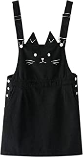 Girl's Ajustable Cat Fcae Embroideried Overall Dress with Pockets
