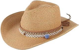 F Fityle Women Straw Sun Hat Cowboy Western Style Big Brim Floppy Packable Trilby Cap
