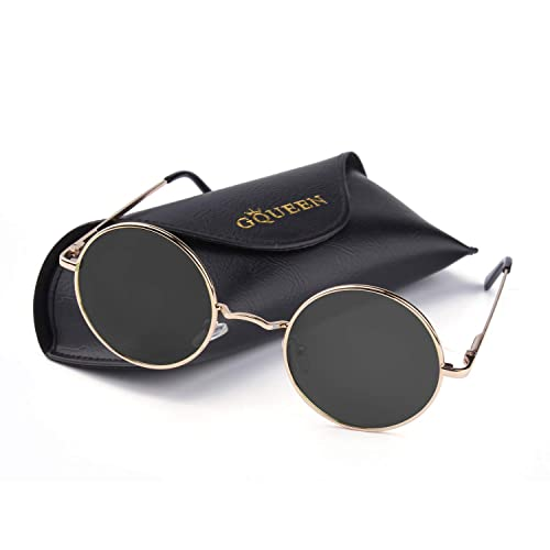 09197d04832 GQUEEN Classic Lennon Round Polarized UV400 Protection Sunglasses with  Vintage Circle Metal Frame Spring Hinge MEZ1