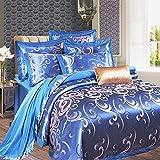 Usitde - Juego de Funda nórdica Bordada de Jacquard para Cama Supersuave, algodón, Azul, Matrimonio
