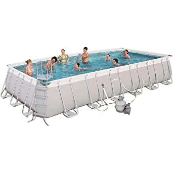 """Bestway 56477E Power Steel Rectangular Above Ground 24ft x 12ft x 52in Backyard Frame Pool Set 