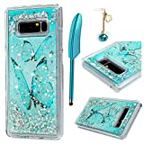 Galaxy Note 8 Case, Quicksand Liquid Case 3D Glitters Shiny Bling Moving Stars Ultra Thin Soft TPU Shockproof Bumper Floating Case Cover for Samsung Galaxy Note 8, Blue Butterfly