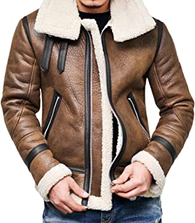Autumn Winter Highneck Warm Fur Liner Lapel Leather Zipper Outwear Top Coat Men